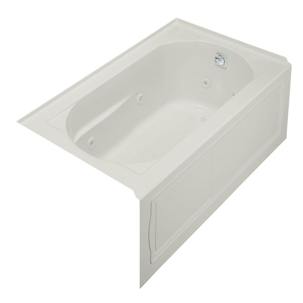 KOHLER Devonshire 5 ft. Whirlpool Bath Tub with Integral Apron and Right-Hand Drain in Ice Grey