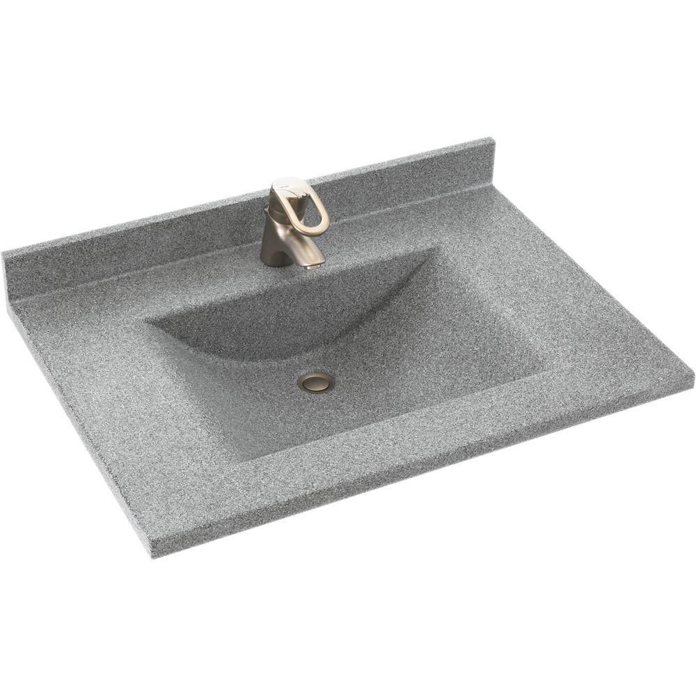 Swan Contour 37 in. W x 22 in. D x 10-1/4 in. H Solid-Surface Vanity Top in Gray Granite with Gray Granite Basin