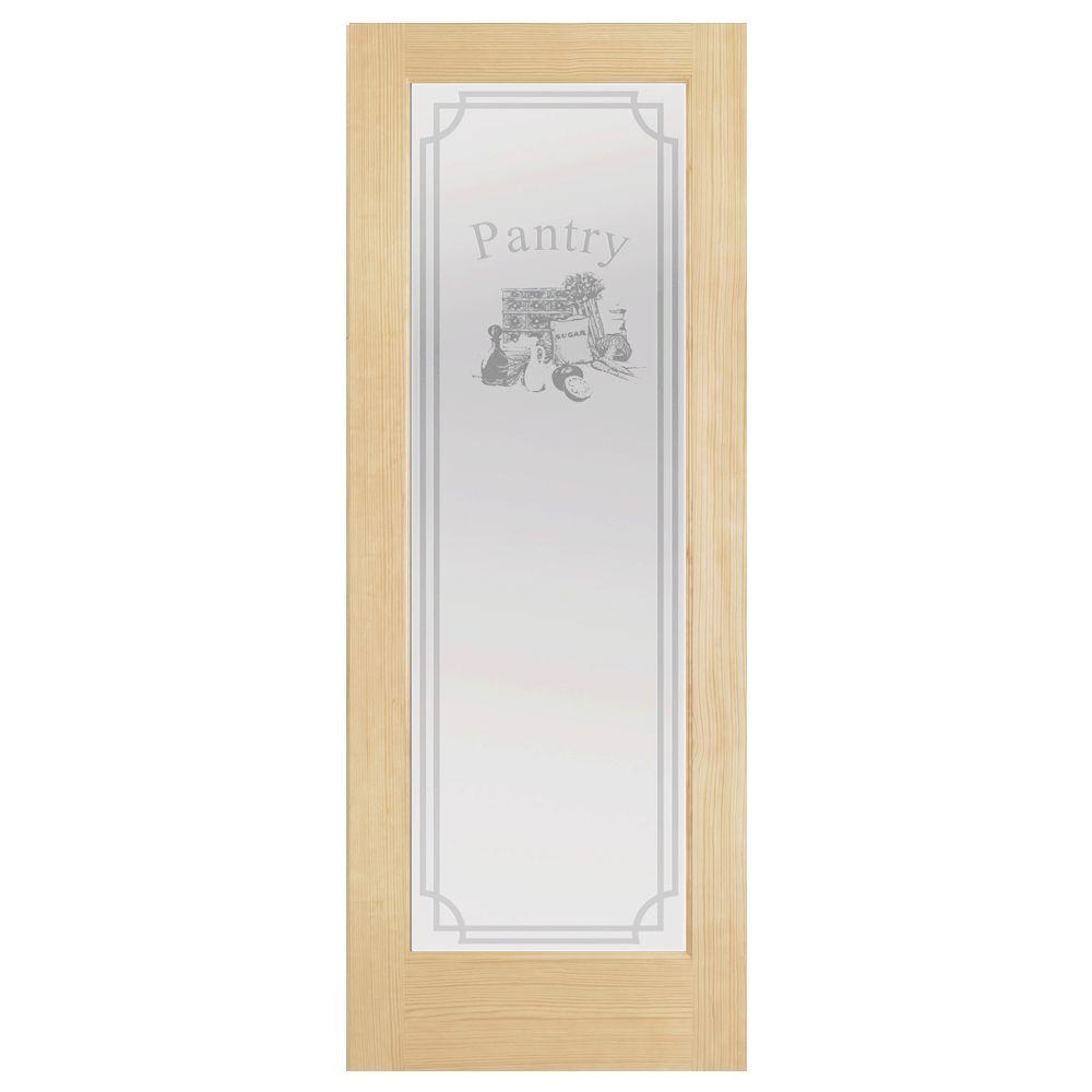 Steves & Sons 32 in. x 80 in. Decorative 1 Lite Glass Pantry Unfinished Pine Interior Door Slab