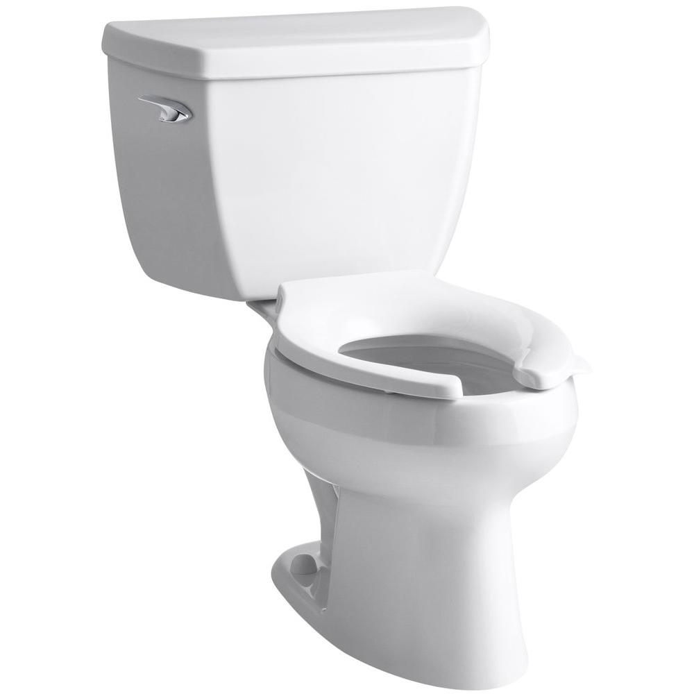 KOHLER Wellworth Classic 2-Piece 1.6 GPF Single Flush Elongated Toilet in White