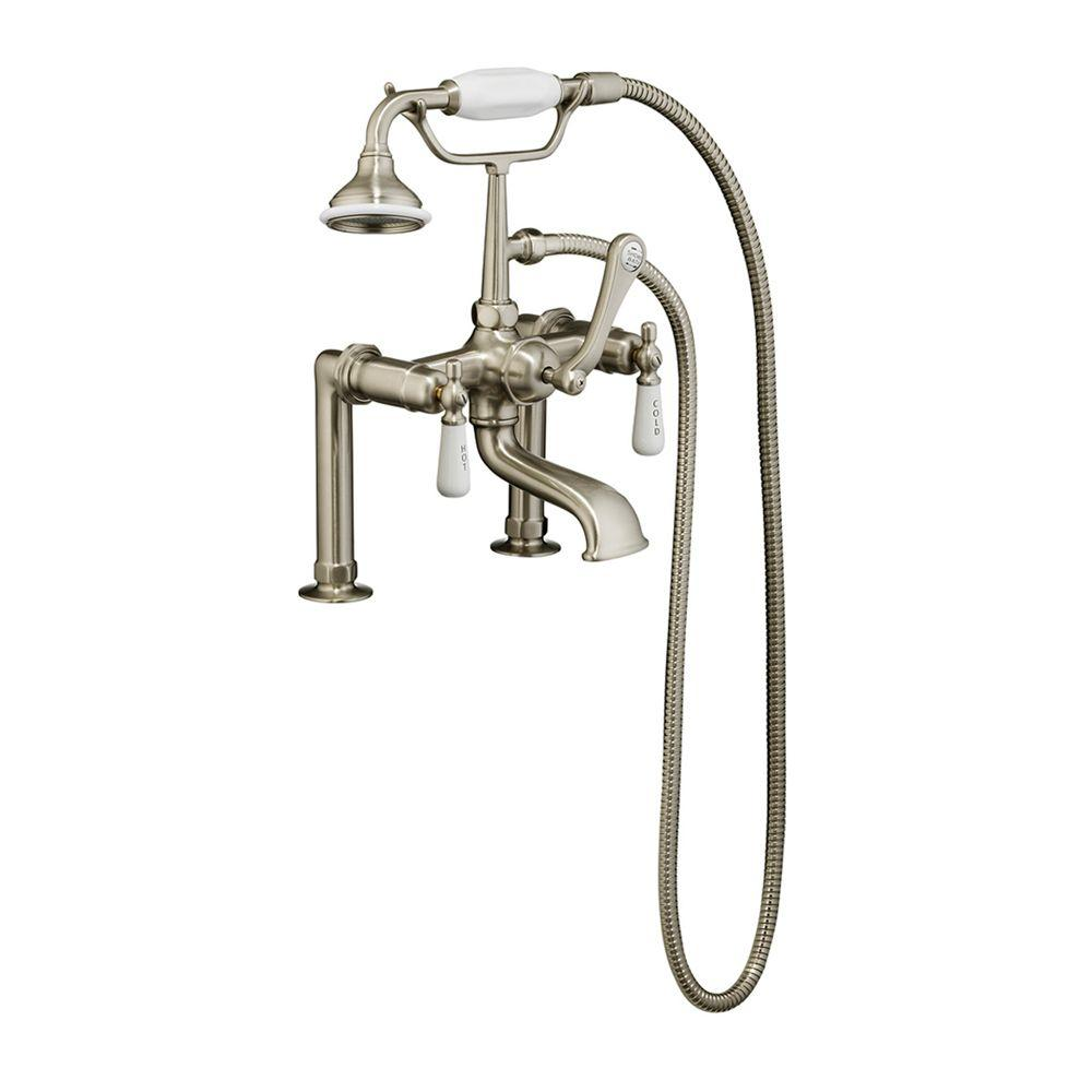 3-Handle Rim-Mounted Claw Foot Tub Faucet with Elephant Spout and Hand
