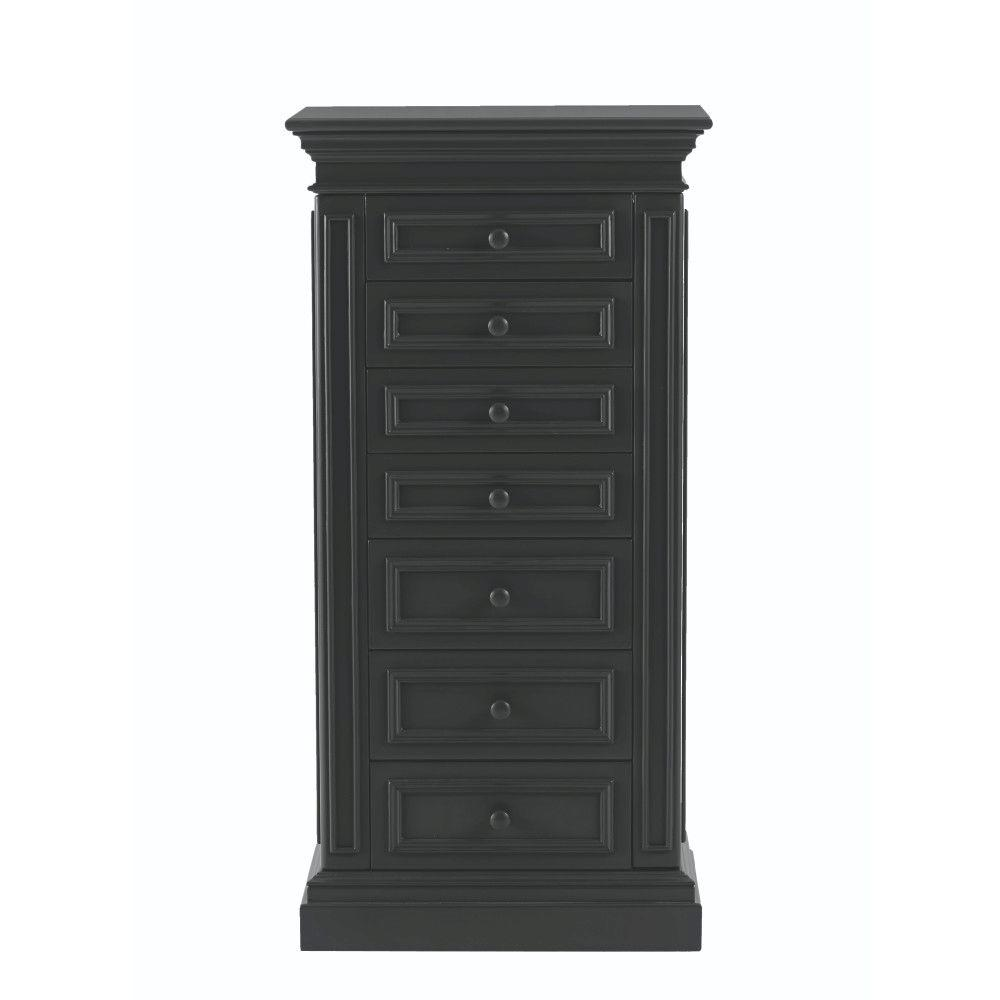 Home Decorators Collection Sheridan 7-Drawer Jewelry Armoire in Black-8190300210