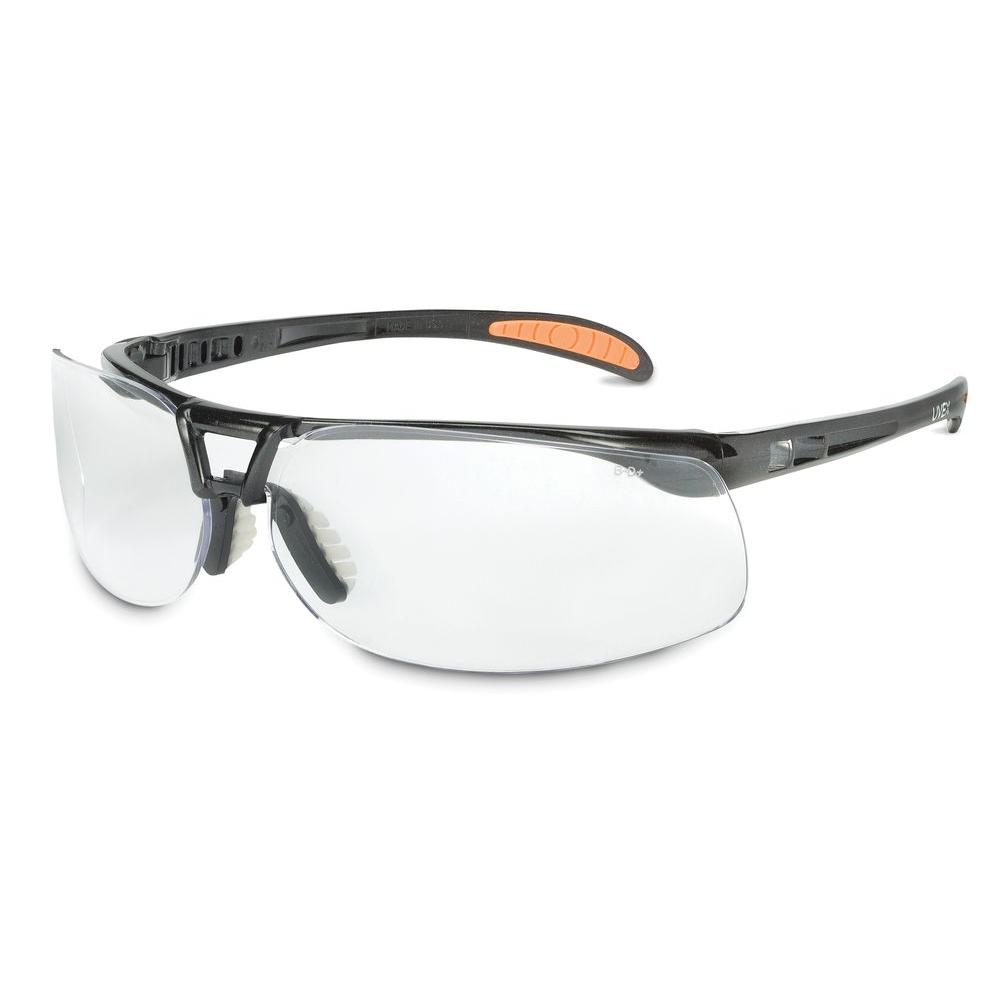 Uvex Protege Safety Glasses with Clear Tint Hardcoat Lens and Metallic Black Frame