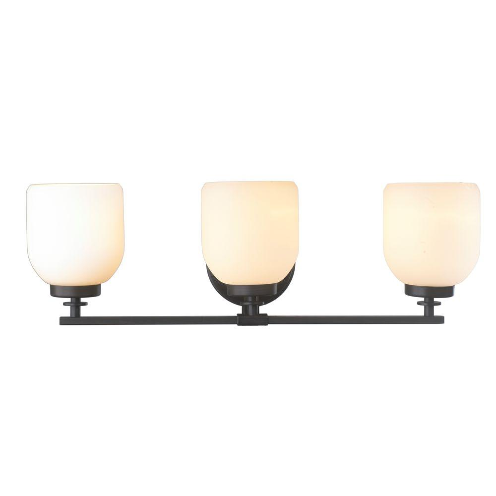World Imports 3-Light Oil-Rubbed Bronze Sconce with White Frosted Glass