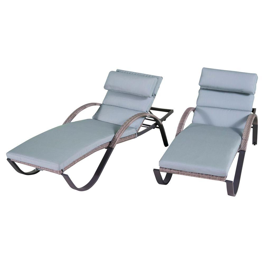 RST Brands Cannes Patio Chaise Lounge with Bliss Blue Cushions (2-Pack)