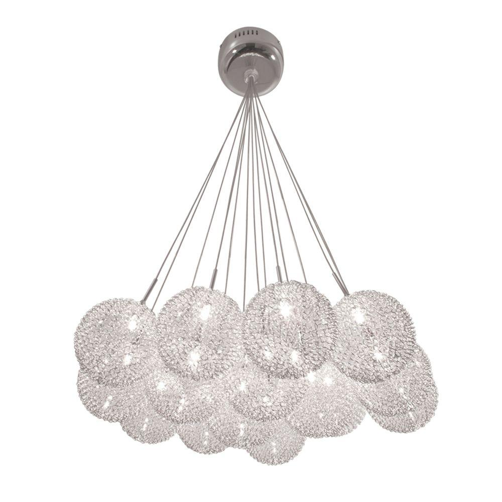 BAZZ Lume Series 15-Light Ceiling Mount Chrome Chandelier with Pendants Clear Balls Covered in a Metal Mesh