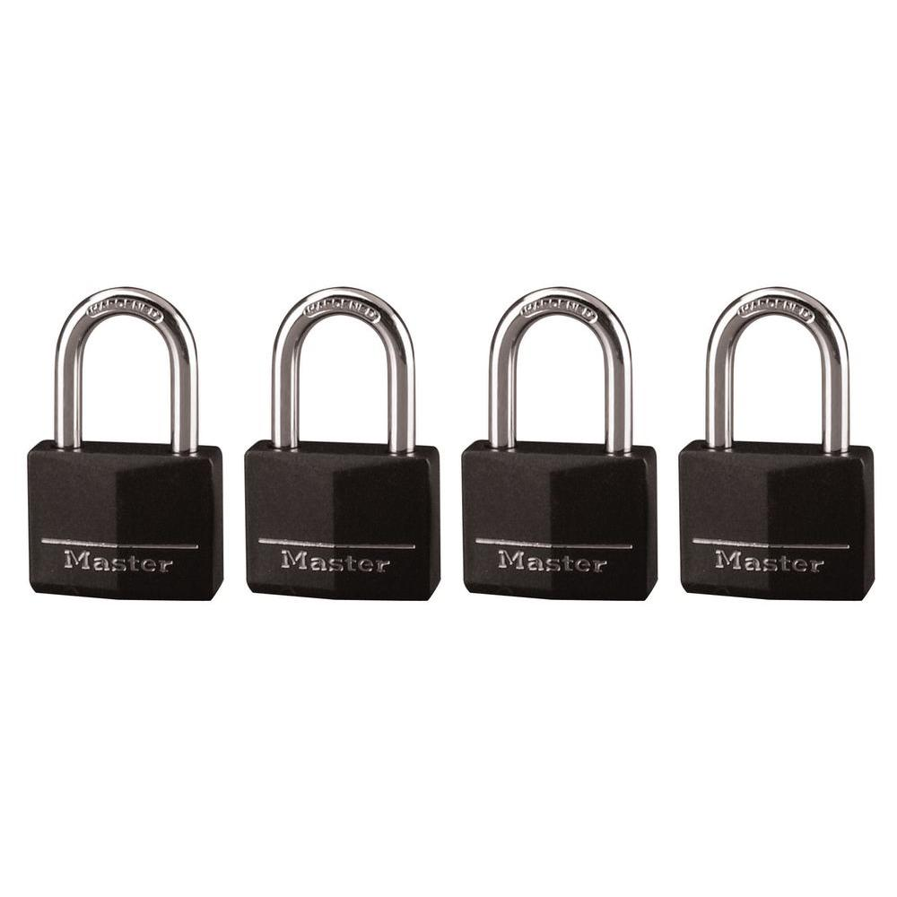 Master Lock 1-9/16 in. Vinyl Covered Solid Body Padlock with 1-1/2 in. Shackle (4-Pack)
