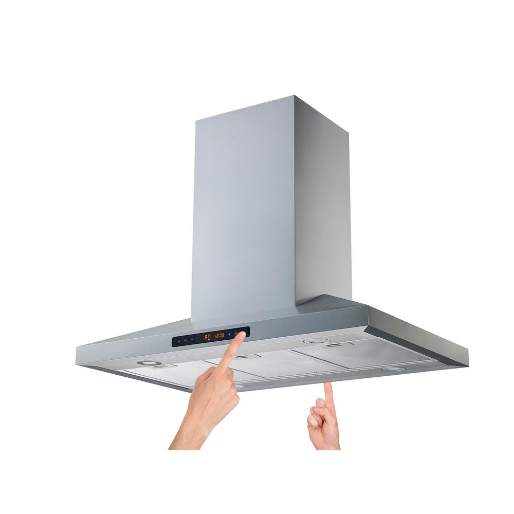36 in. Convertible Island Range Hood in Stainless Steel with Aluminum