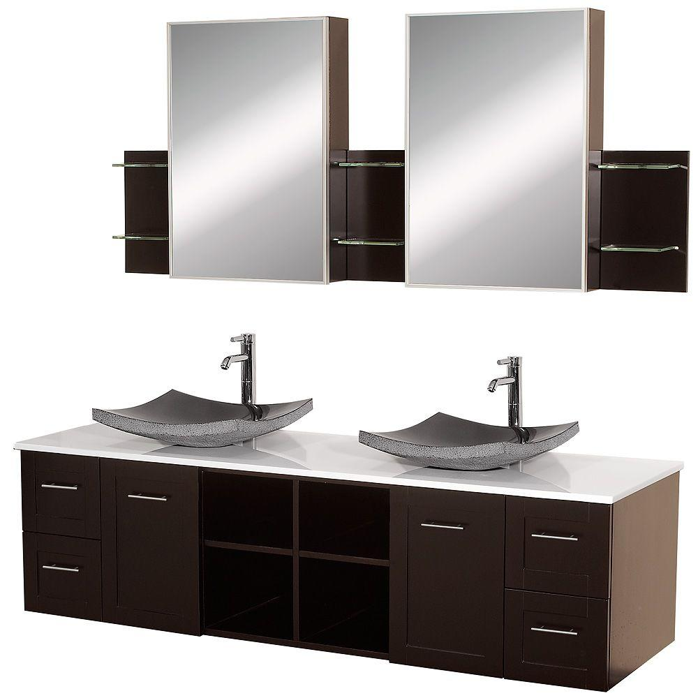 Wyndham Collection Avara 72 in. Vanity in Espresso with Double Basin Stone Vanity Top in White and Medicine Cabinets
