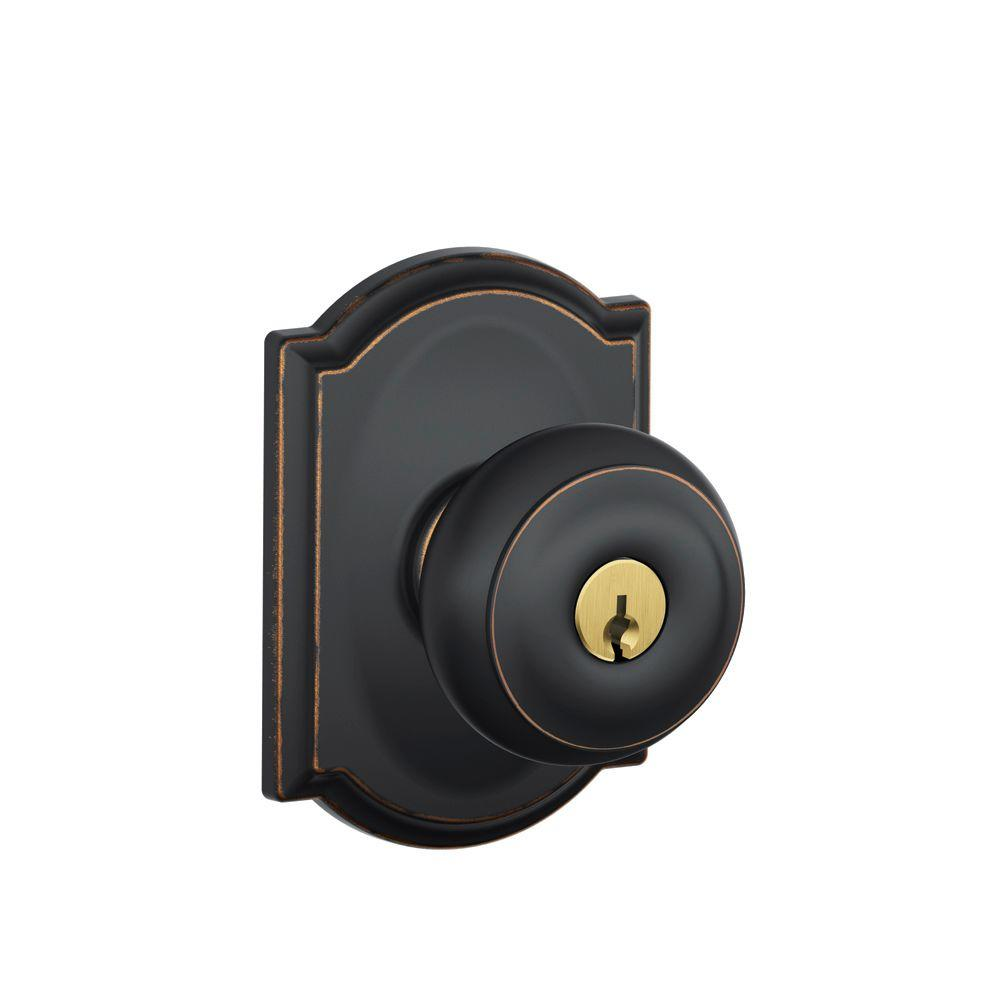 Schlage Camelot Collection Georgian Aged Bronze Keyed Entry Knob-DISCONTINUED
