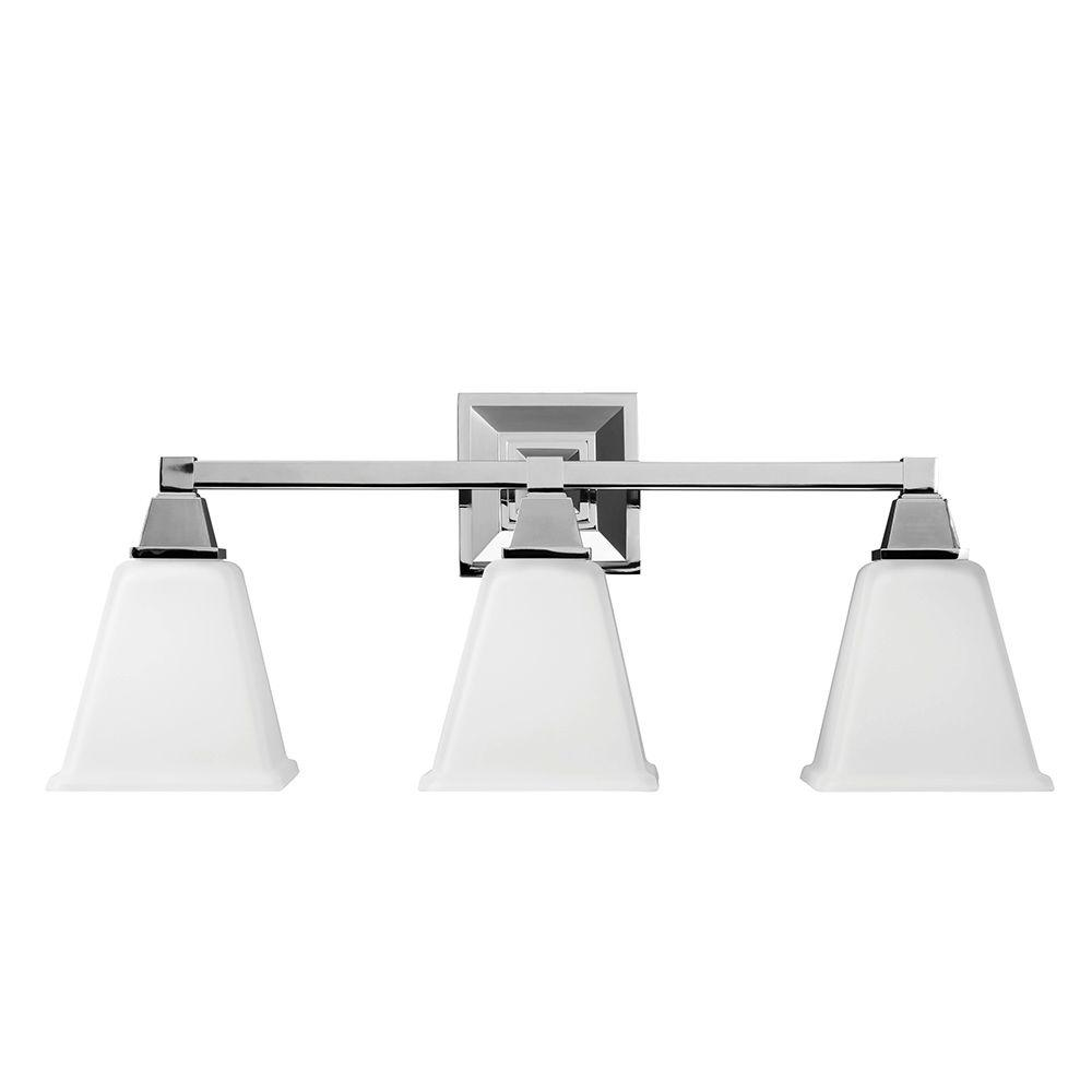 Chrome bathroom vanity lights - Denhelm 3 Light Chrome Wall Bath Vanity Light With Inside White Painted Etched Glass