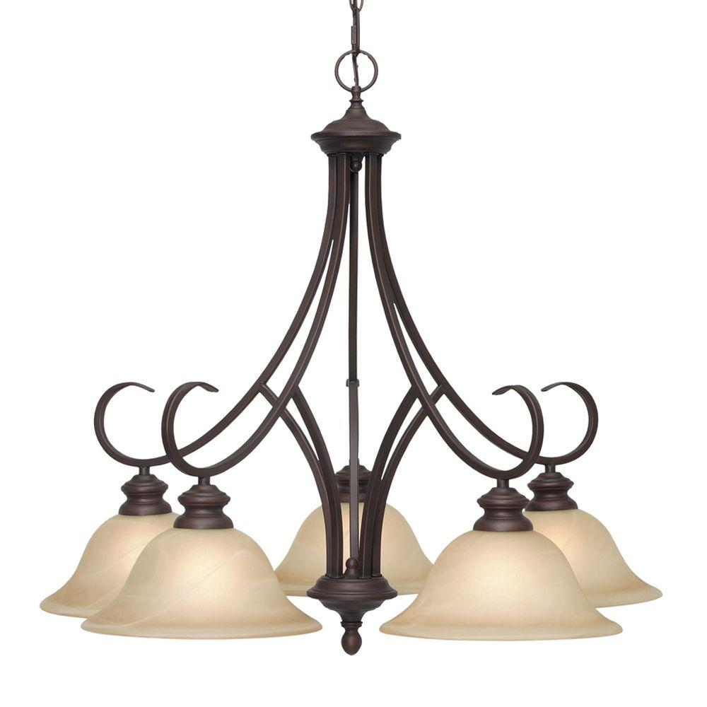 Starke Collection 5-Light Rubbed Bronze Chandelier-005D5MPRBZ - The Home Depot