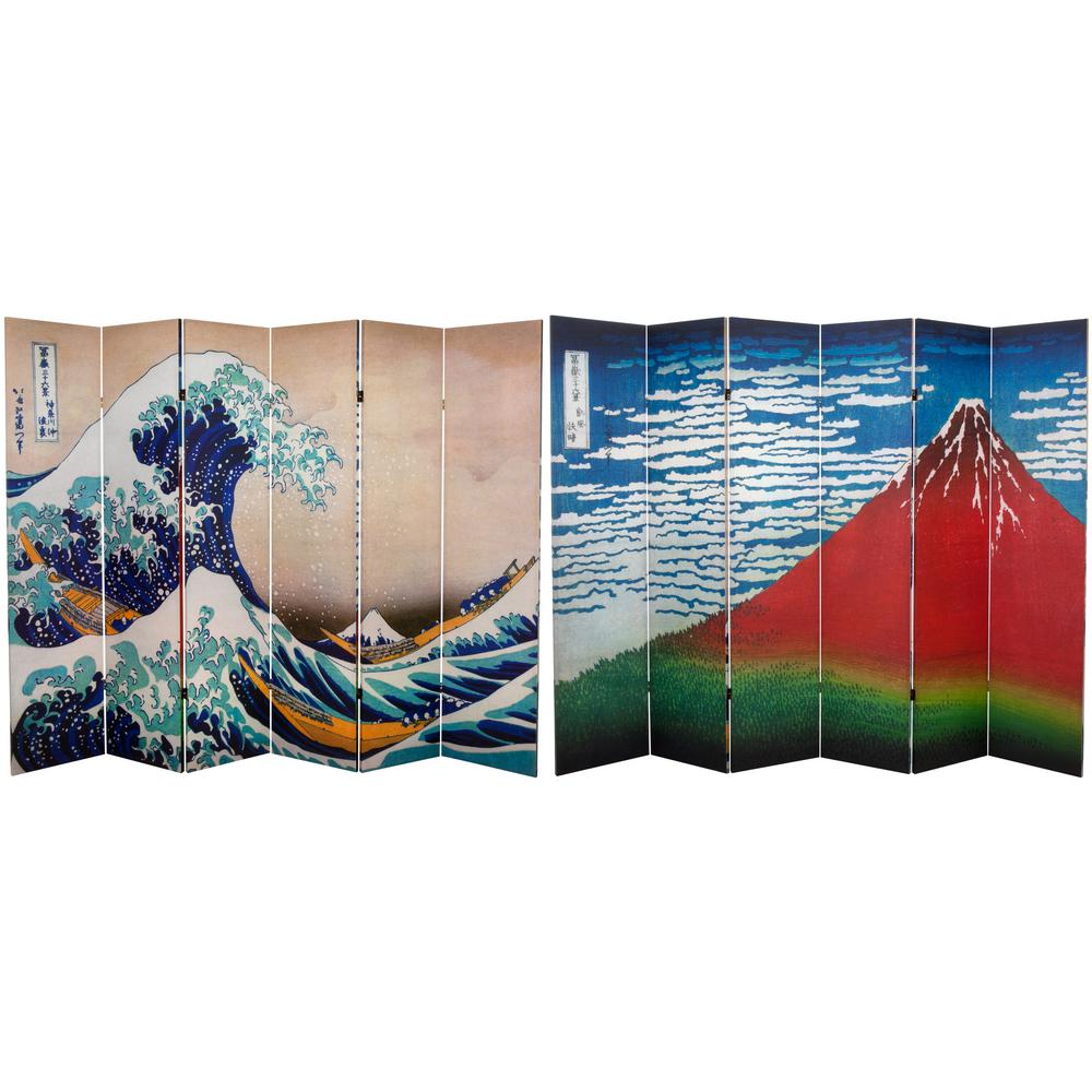 Oriental Furniture 6 ft. x 8 ft. 6-Panel Double Sided Hokusai