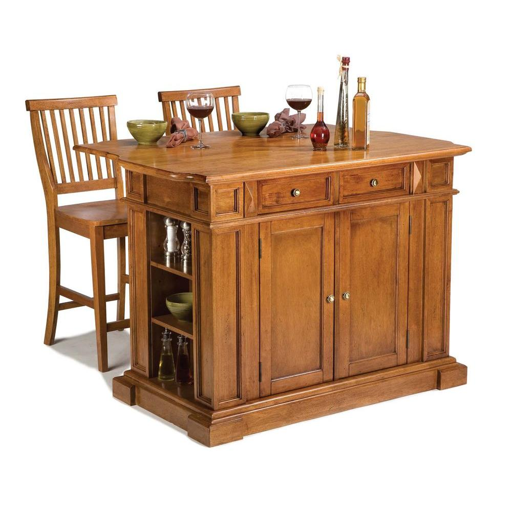 Home styles kitchen islands 49 3 4 in kitchen island in cottage oak with two stools 5004 948 Home depot wood bar stools