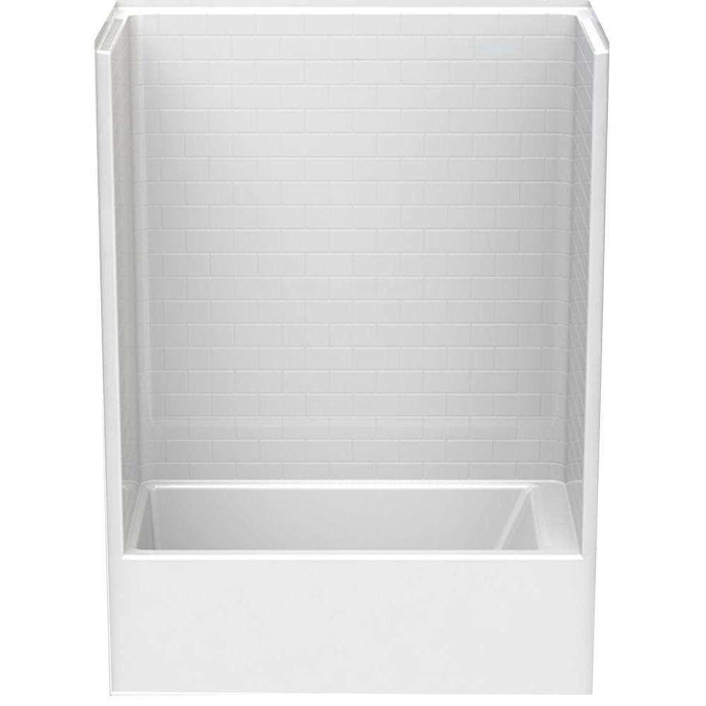 Aquatic Everyday Subway Tile 60 in. x 32 in. x 80 in. Left Drain 1-Piece Bath and Shower Kit in White