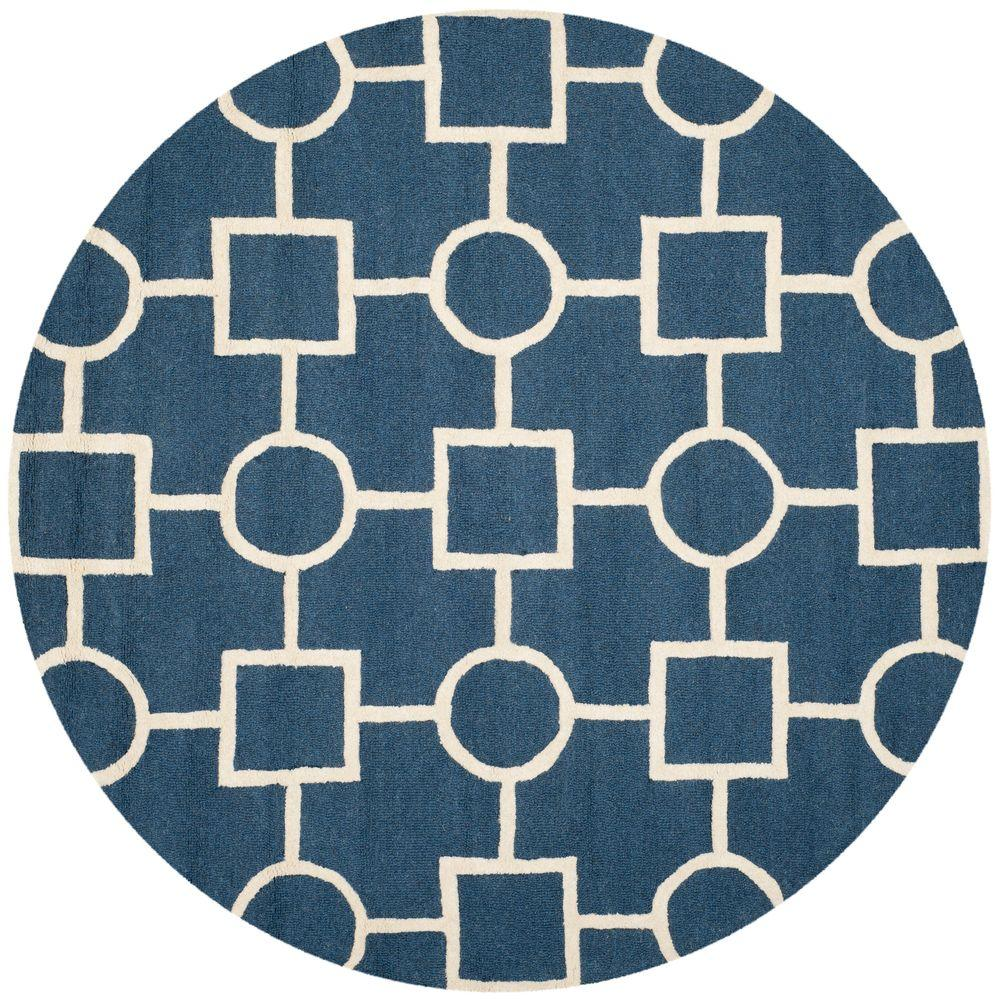 Safavieh Cambridge Navy Blue/Ivory 6 ft. Round Area Rug-CAM143G-6R - The