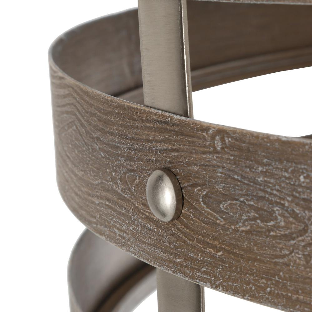 Fine details of the hand-painted weathered gray finish of the chandelier