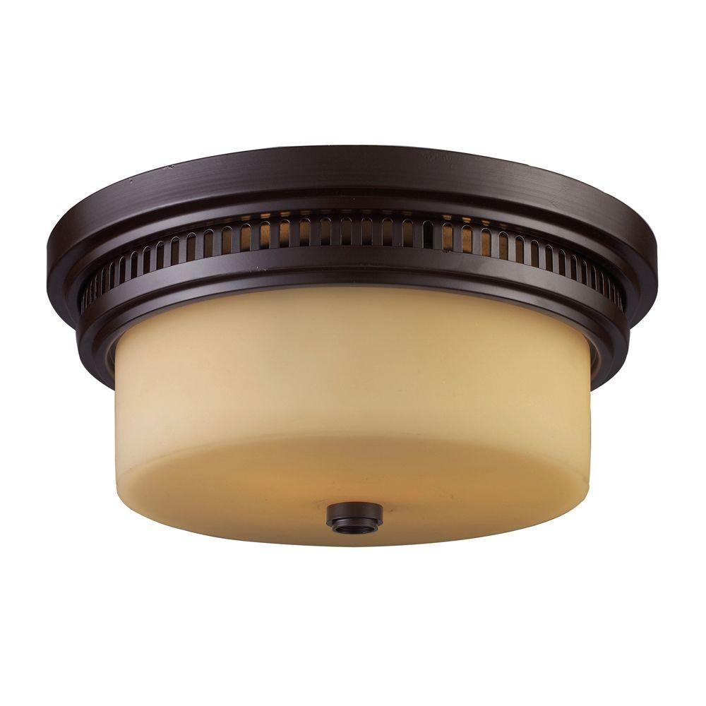 Chadwick 2-Light Oiled Bronze Ceiling Flushmount