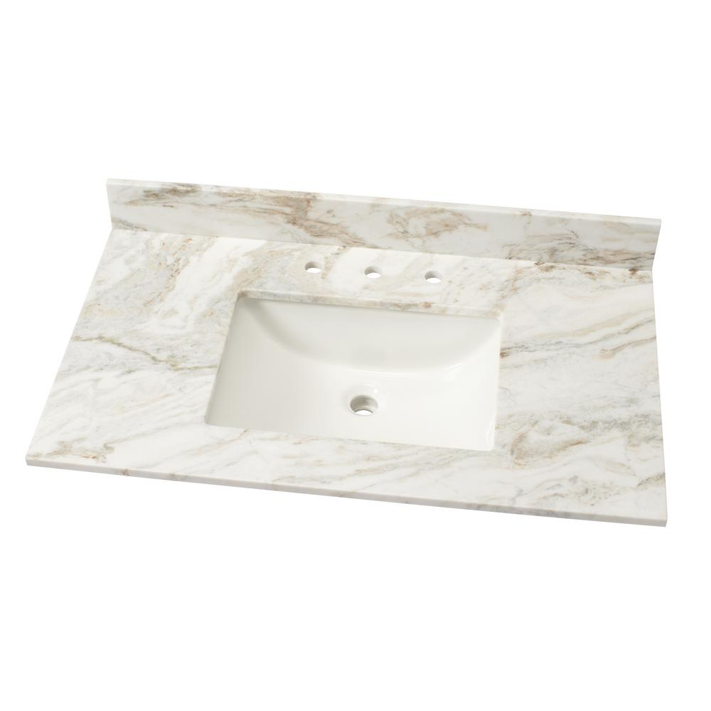 37 in. W Marble Single Basin Vanity Top in Arabescato Venato