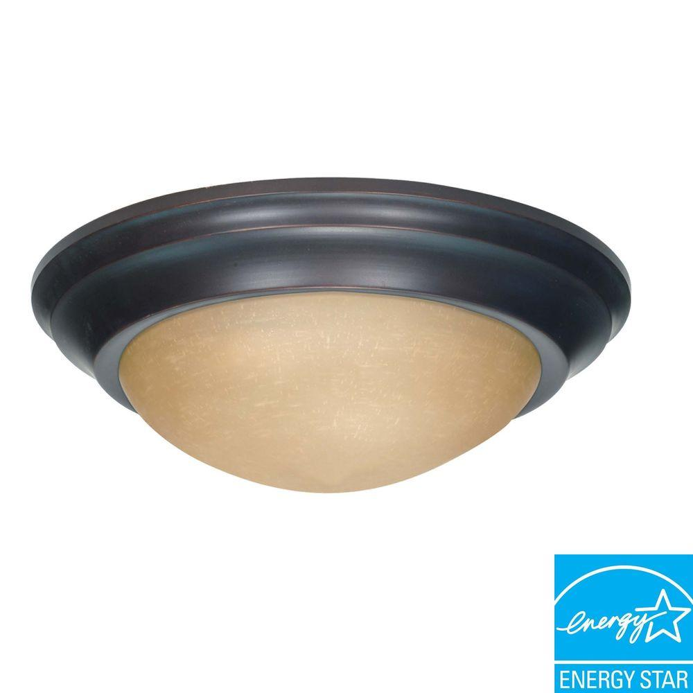 3-Light Flush-Mount Mahogany Bronze Light Fixture