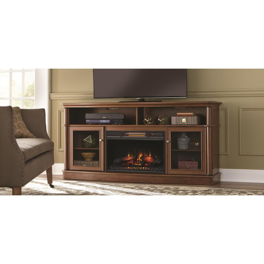 Tolleson 68 in. Media Console Infrared Bow Front Electric Fireplace in