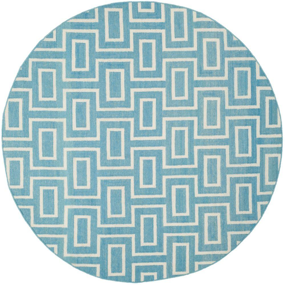 Dhurries Light Blue/Ivory 6 ft. x 6 ft. Round Area Rug