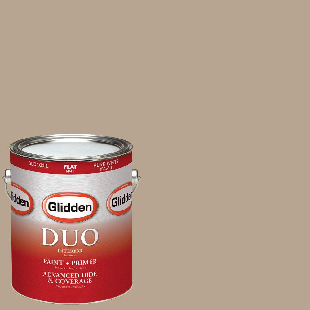 Glidden DUO 1-gal. #HDGWN08U Palm Springs Tan Flat Latex Interior Paint with Primer