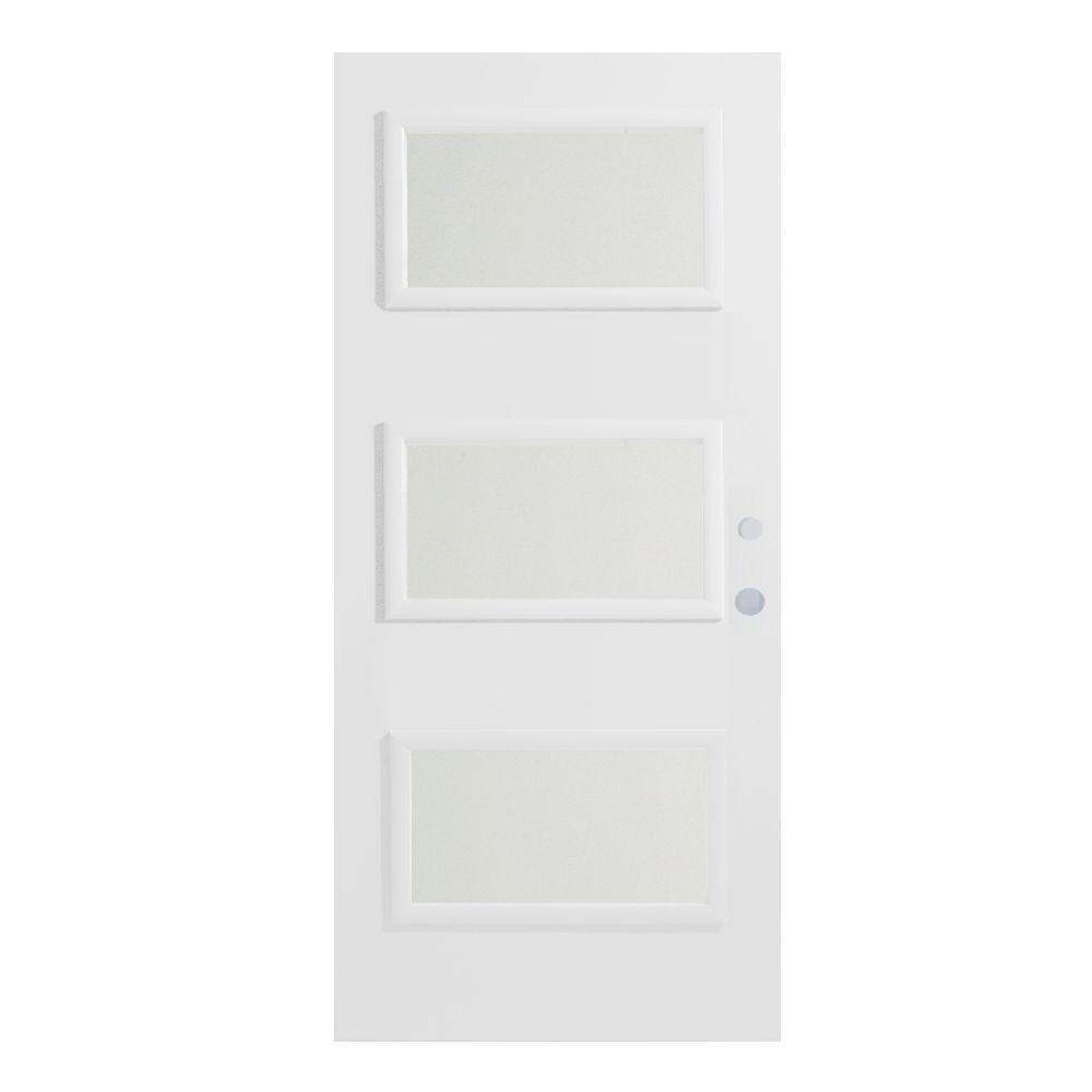 33.375 in. x 82.375 in. Dorothy Satin Opaque 3 Lite Painted