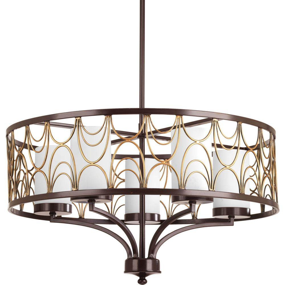 Cirrine Collection 5-Light Antique Bronze Chandelier with Shade