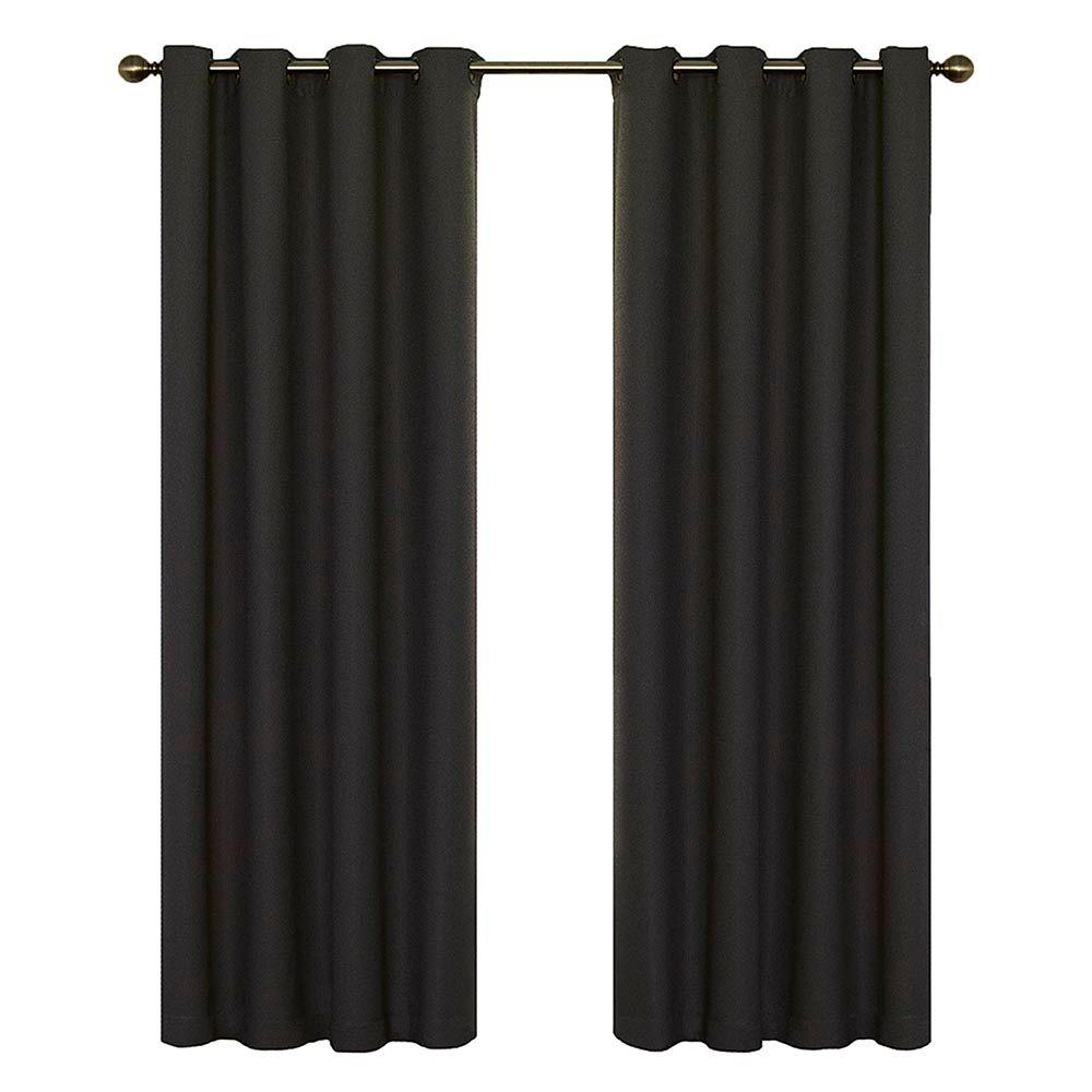 Blackout Wyndham Blackout Charcoal Curtain Panel, 63 in. Length