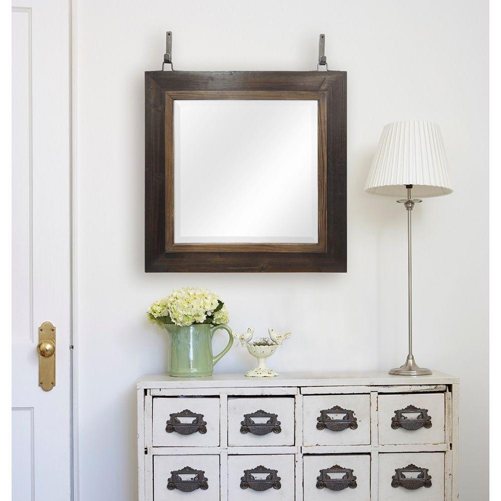 Sierra 24 in. H x 24 in. W Square Framed Mirror in Weathered Wood