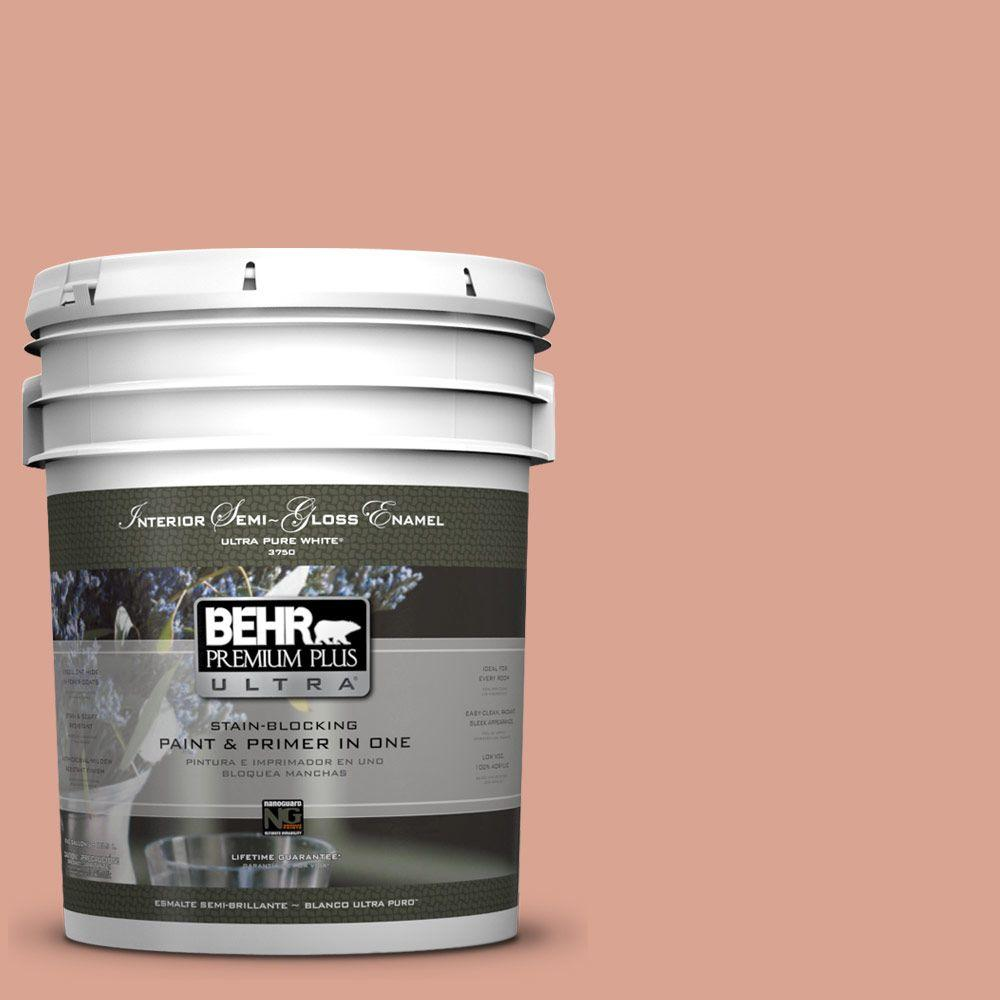 BEHR Premium Plus Ultra Home Decorators Collection 5-gal. #HDC-CT-13 Apricotta Semi-Gloss Enamel Interior Paint