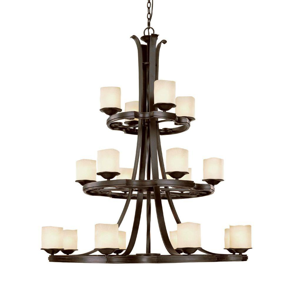 Filament Design 18-Light Raw Umber Chandelier Candlelight Glass-DISCONTINUED