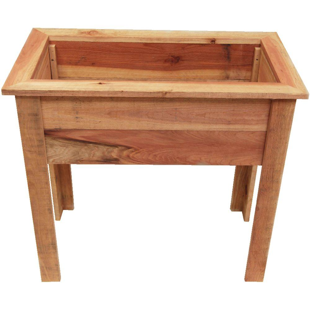 36 in. Red-Wood Raised Planter Box