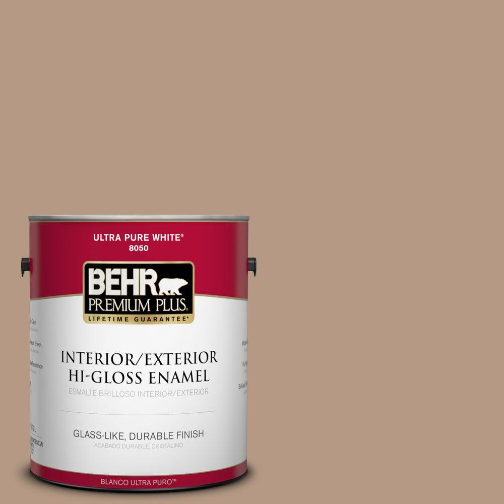 1-gal. #250F-4 Stone Brown Hi-Gloss Enamel Interior/Exterior Paint