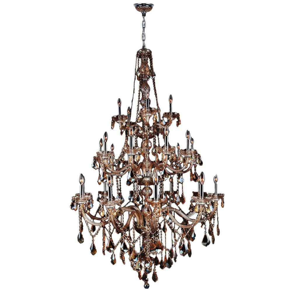 Worldwide Lighting Provence Collection 25-Light Chrome Chandelier with Amber Crystal