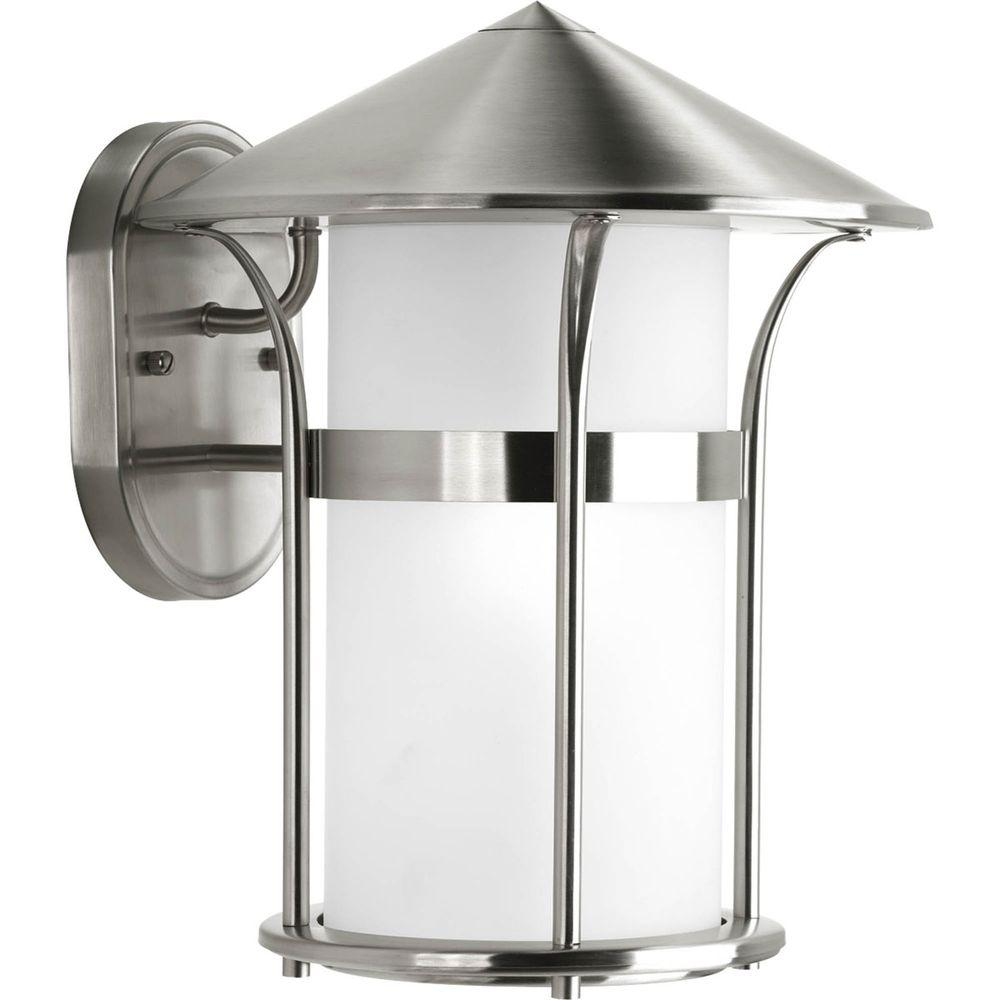 Progress Lighting Welcome Collection Wall Mount Outdoor Stainless Steel Lantern-DISCONTINUED