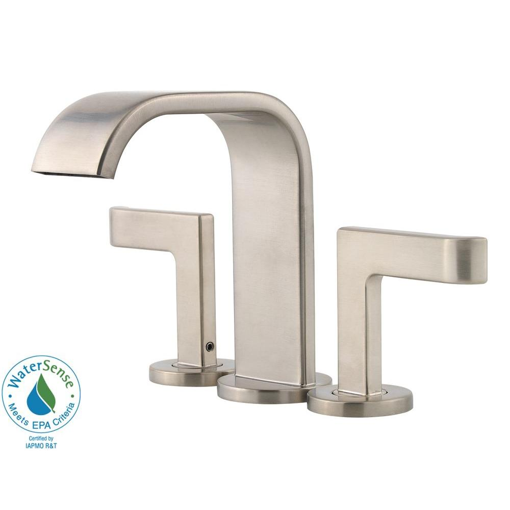 high arc bathroom faucet in brushed nickel f 046 sykk the home depot