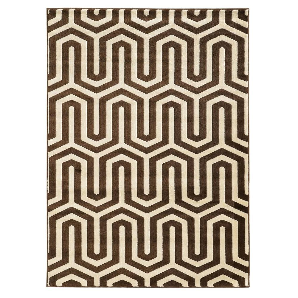 Linon Home Decor Roma Collection ZigZag Ivory and Chocolate 8 ft.