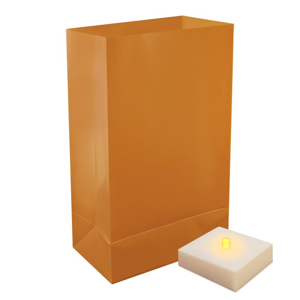 Battery Operated Luminaria Kit with Timer- Tan (6 Count)