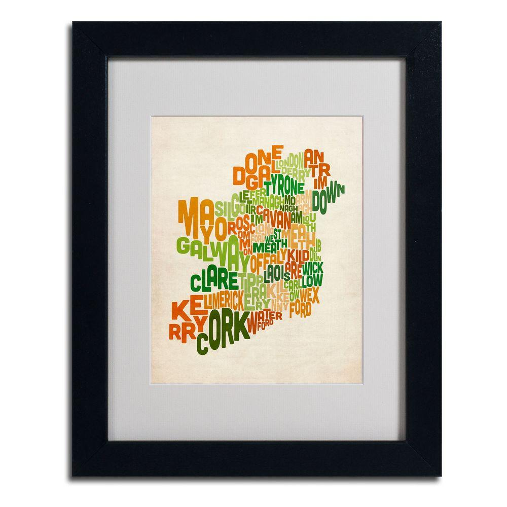 11 in. x 14 in. Ireland Text Map Canvas Art