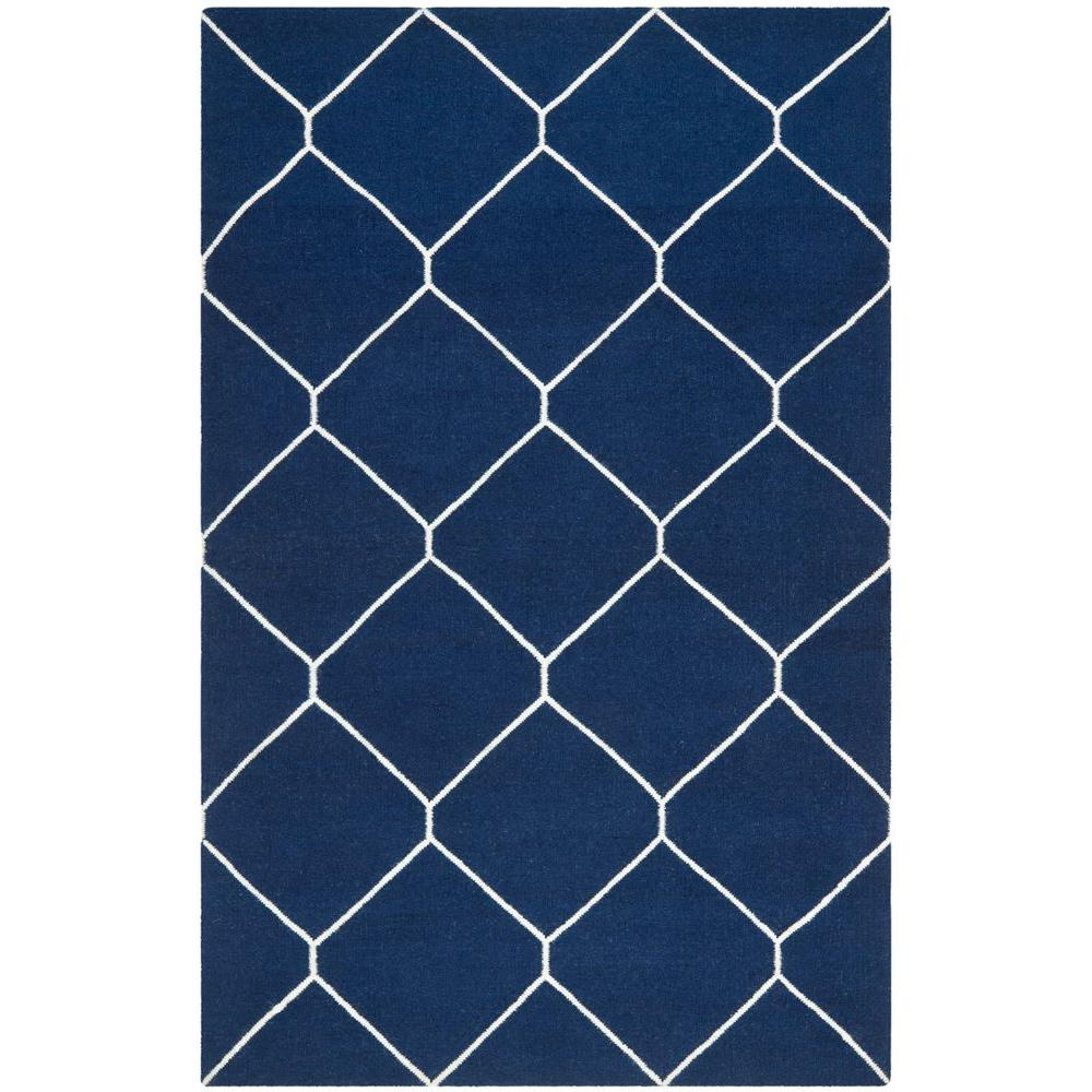 Dhurries Navy/Ivory (Blue/Ivory) 6 ft. x 9 ft. Area Rug