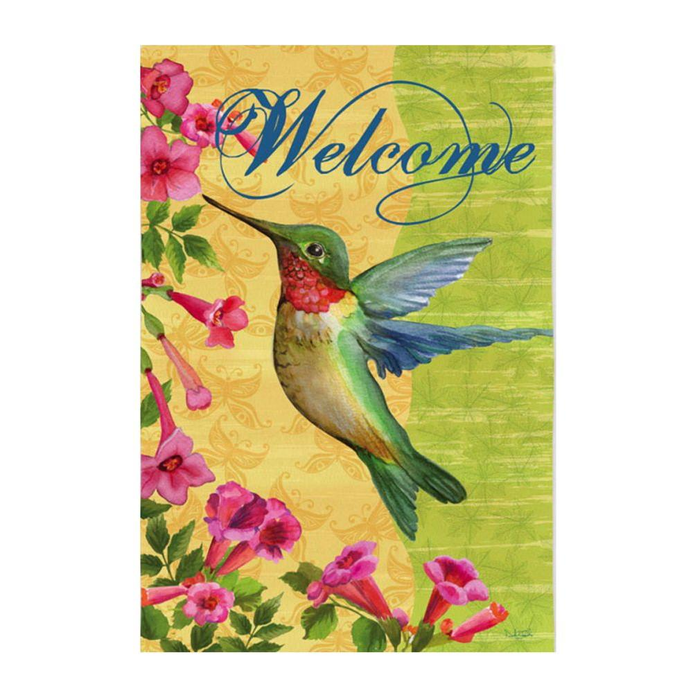 12-1/2 in. x 18 in. Patterned Welcome Hummingbird Garden Flag