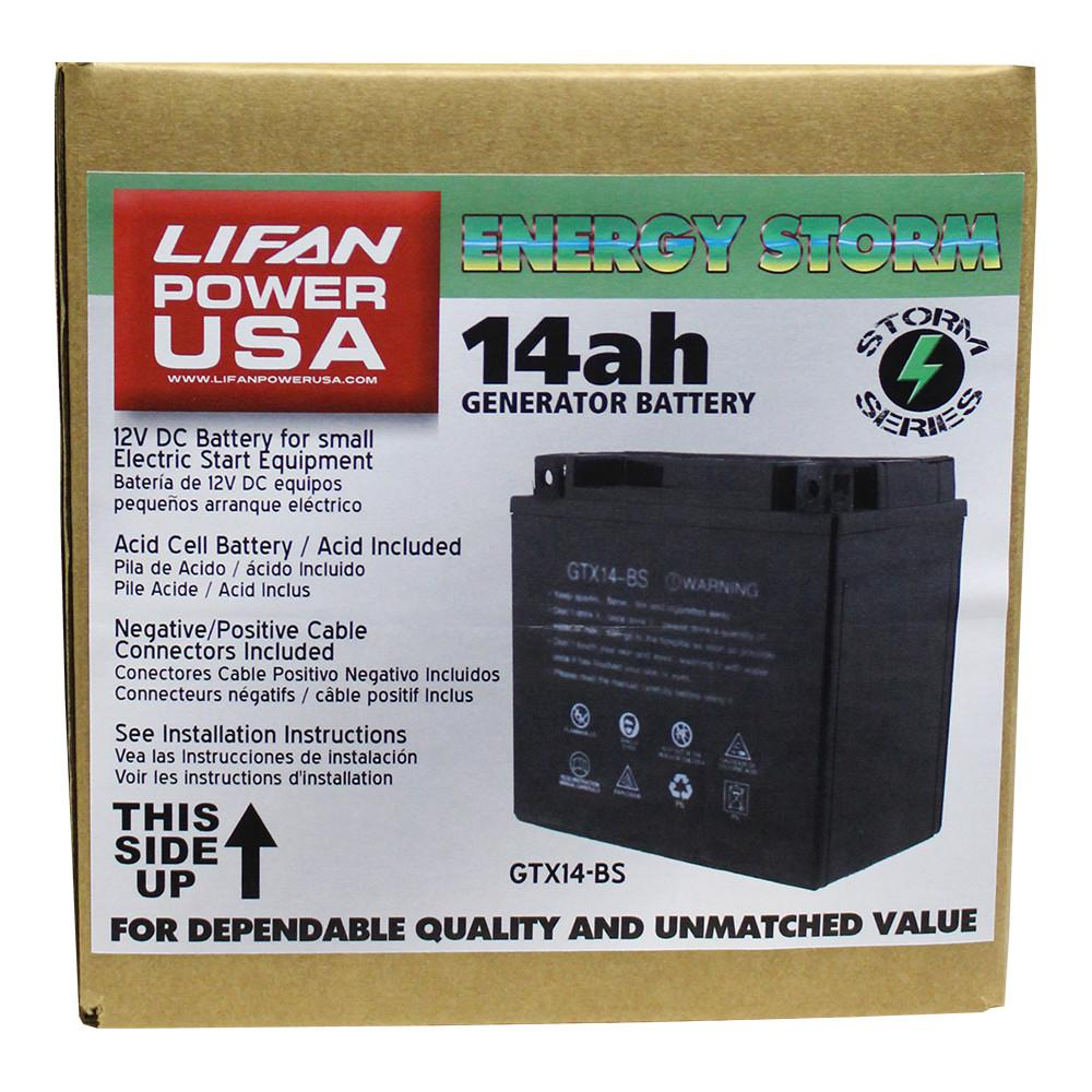 LIFAN 12-Volt 14 Amp Acid Cell Battery for Generators, Pressure Washers