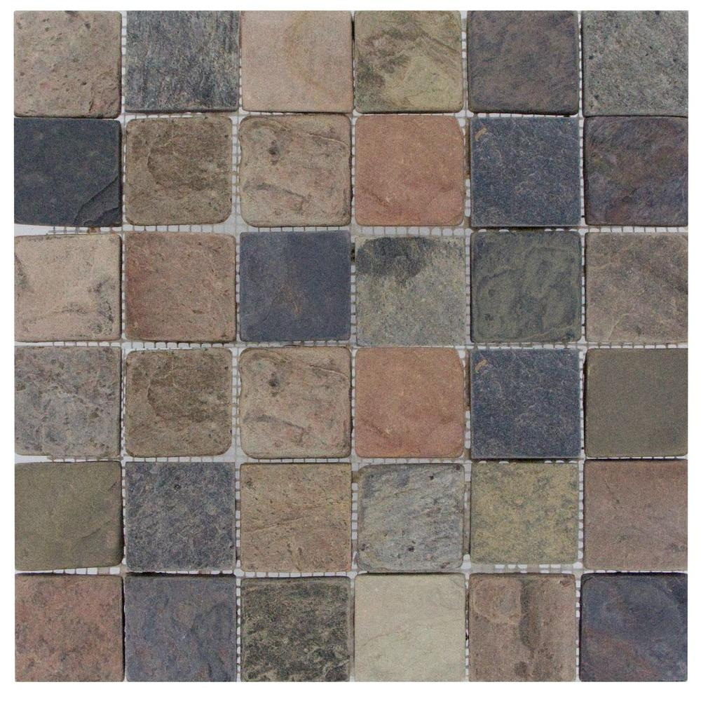 MS International Mixed Color 12 in. x 12 in. x 10 mm Tumbled Slate Mesh-Mounted Mosaic Tile