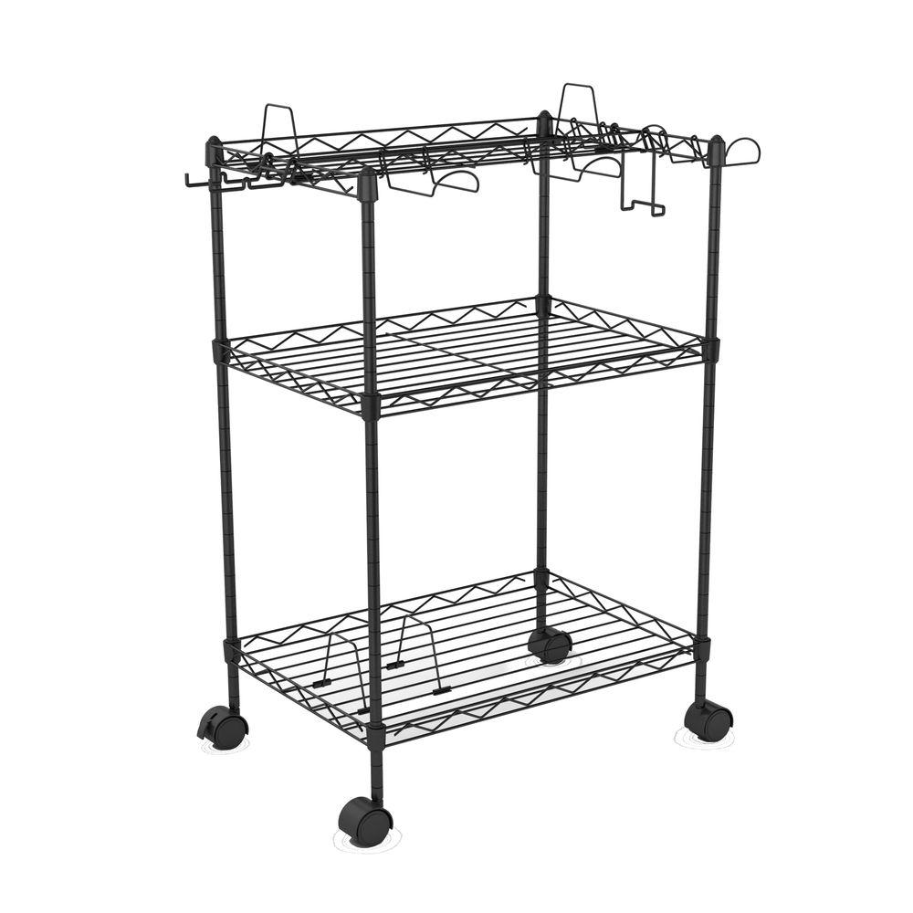 Atlantic Three Tier Game Cart in Black-DISCONTINUED-DISCONTINUED-DISCONTINUED