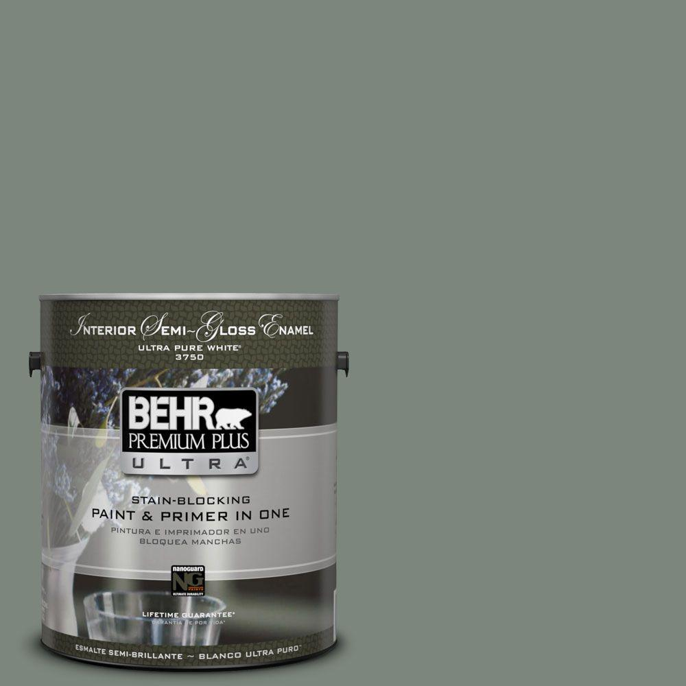 BEHR Premium Plus Ultra 1-gal. #N410-5 Village Green Semi-Gloss Enamel Interior Paint