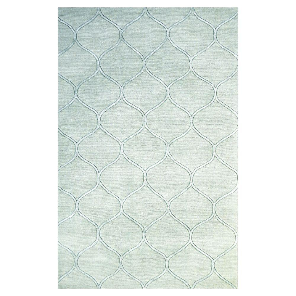 Kas Rugs Simple Scallop Frost 8 ft. x 10 ft. Area
