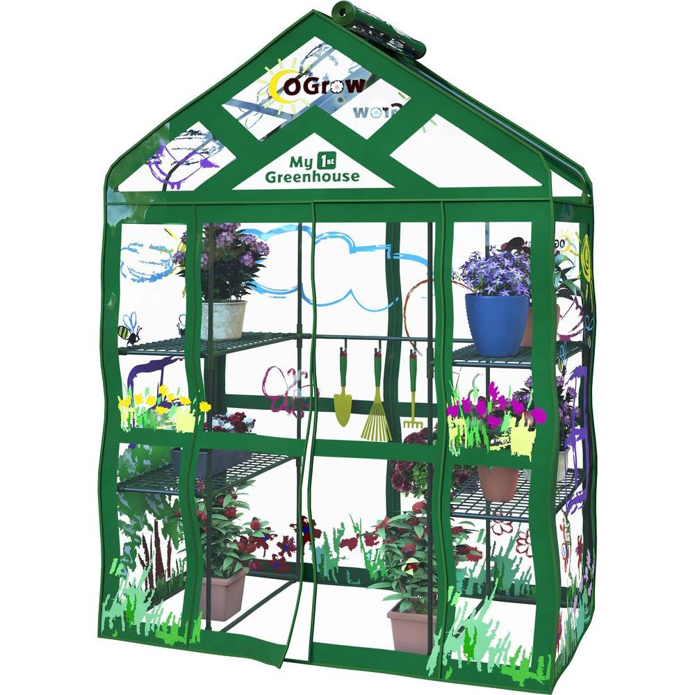Ogrow Greenhouses 29 in. W x 54 in. D Walk-In 3-Tier 6 Shelf Kids Greenhouse OG6834-KS Greenhouse, Hoop House, Grow House, High Tunnel, Hothouse, Plant House, Grow Tunnel, Garden Supplies