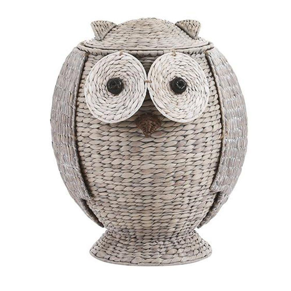 Owl 21 in. H x 16.5 in. W Grey Hamper with